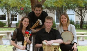 Photo of percussionists with instruments and sticks