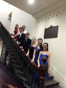 Contestents and conductor Ingrid on the stairs